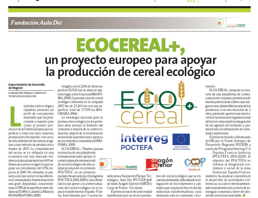 ECOCEREAL+ en la revista de Cooperativas Agroalimentarias